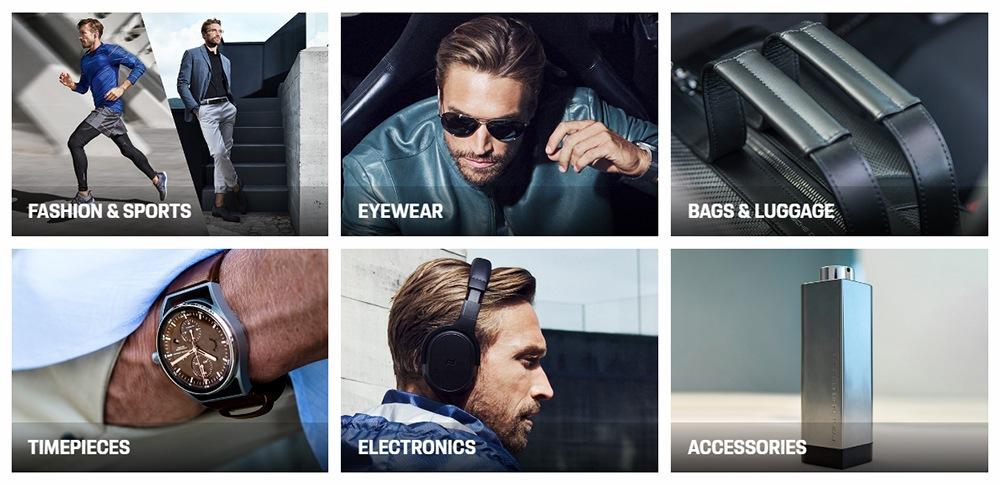 Screenshot of Porsche Design website homepage