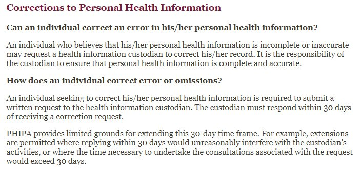 PSFDH Privacy FAQ: Corrections to Personal Health Information clause excerpt