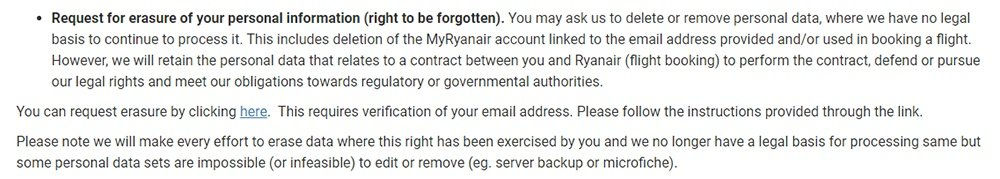 Ryanair Privacy Policy: Data Protection Rights clause - Request erasure section