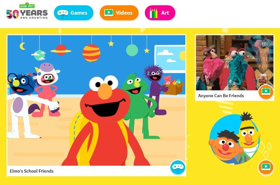 Screenshot of Sesame Street website homepage
