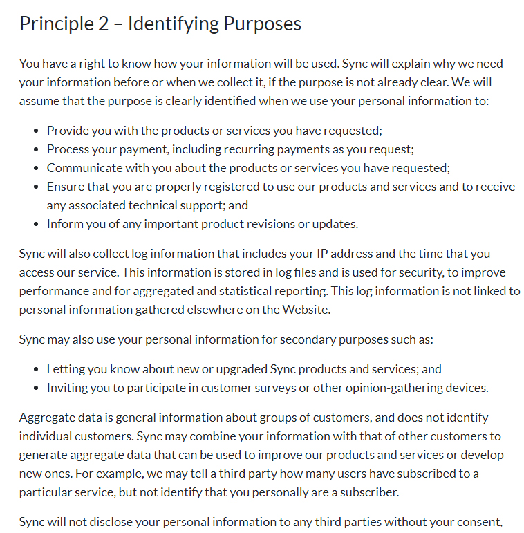 Sync Privacy Policy: Identifying Purposes clause