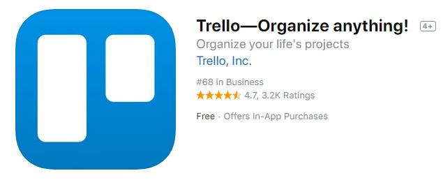 Screenshot of Trello app icon in app listing