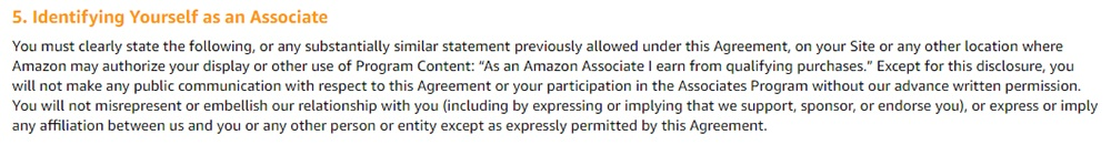Amazon Associates Program Operating Agreement: Identifying Yourself as an Associate clause