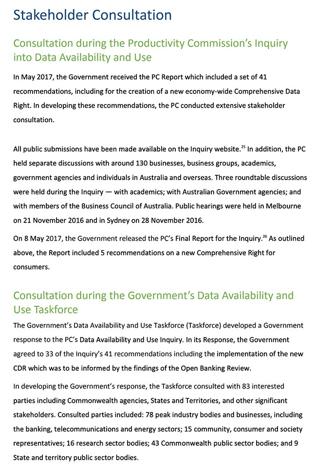 Australian Department of the Treasury Privacy Impact Assessment: Excerpt of Stakeholder Consultation section