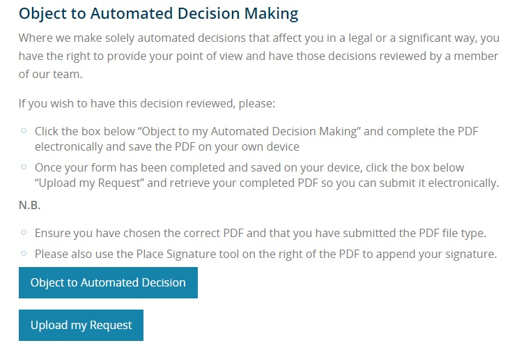 Bank of Ireland Object to Automated Decision Making request screen
