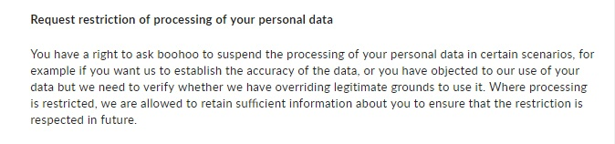 Boohoo Privacy Notice: Request restriction of processing your personal data clause