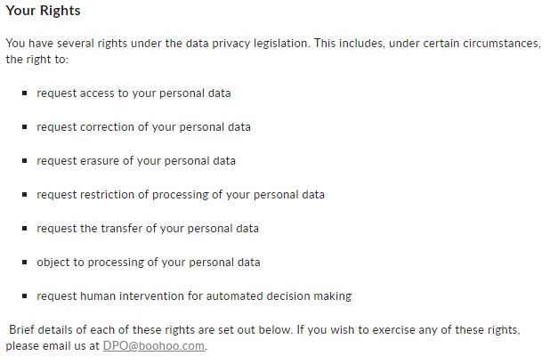 Boohoo Privacy Notice: GDPR User Rights clause
