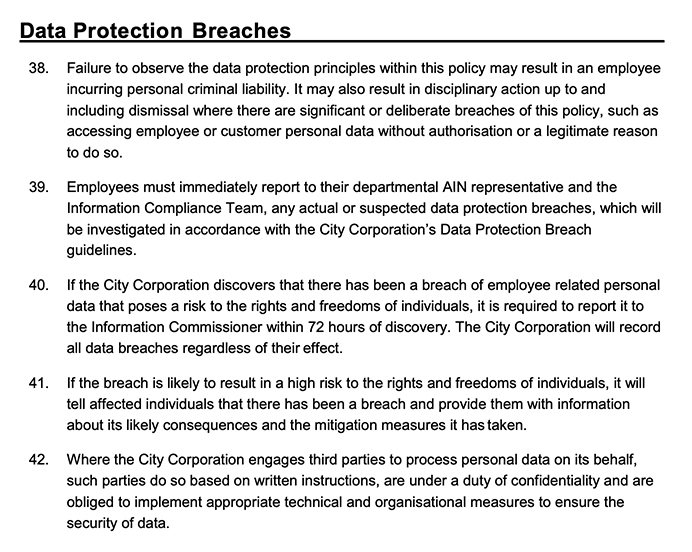 City of London Data Protection Policy for Employees: Data Protection Breaches clause