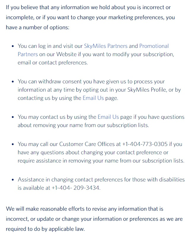 Delta Airlines Privacy Policy: Correcting or Updating Your Information or Marketing Preferences clause