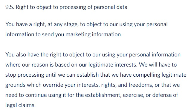Delta Airlines Privacy Policy: Right to object to processing clause