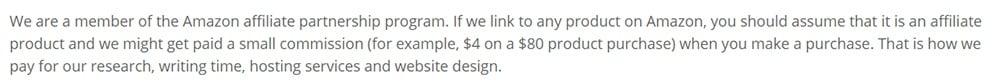 FreshPresso's Affiliate Disclosure: Excerpt about Amazon Associates