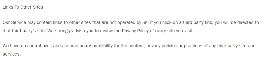 Gal Meets Glam Privacy Policy: Links to Other Sites clause