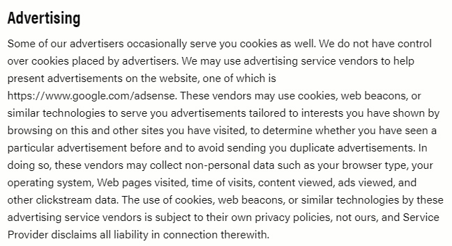 Gear Junkies Privacy Policy: Advertising clause