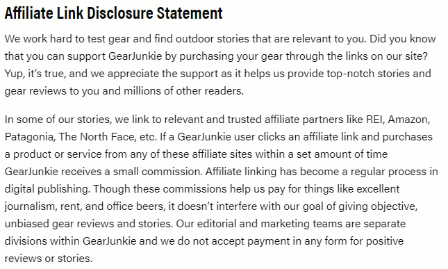 Gear Junkies Privacy Policy: Affiliate Link Disclosure Statement clause