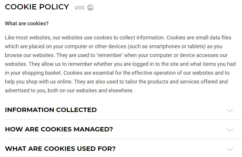 Gymshark Cookie Policy: Intro clause excerpt