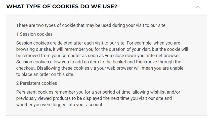Gymshark Cookie Policy: What type of cookies do we use clause
