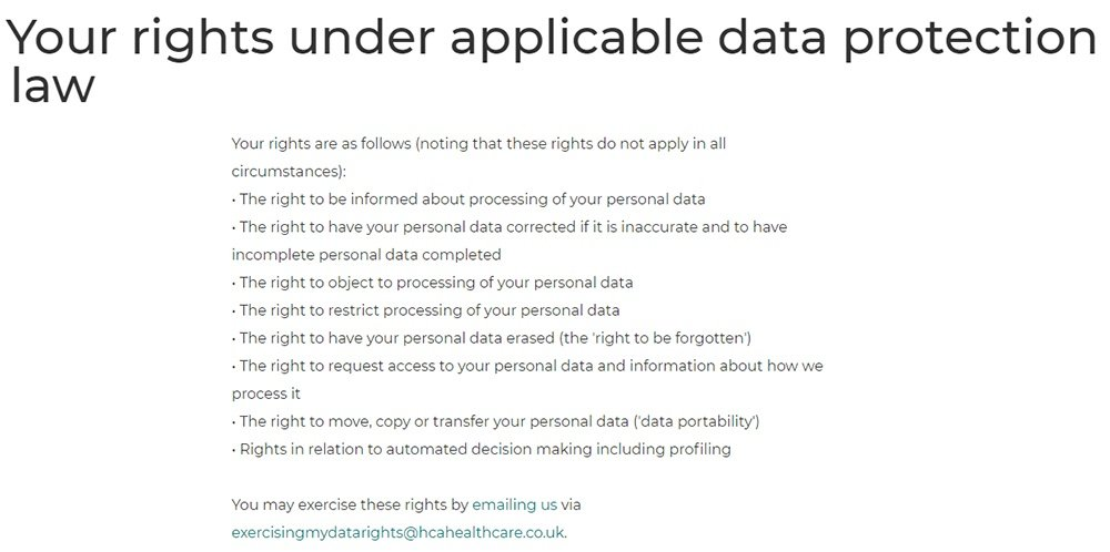 HCA Healthcare UK Privacy Policy: GDPR User Rights clause