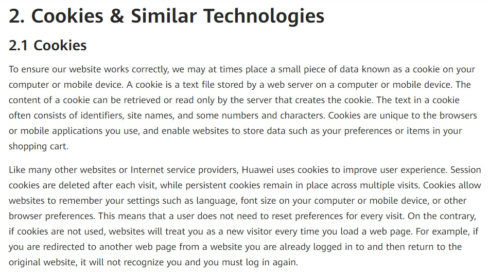 Huawei Privacy Policy: Cookies and Similar Technologies clause excerpt
