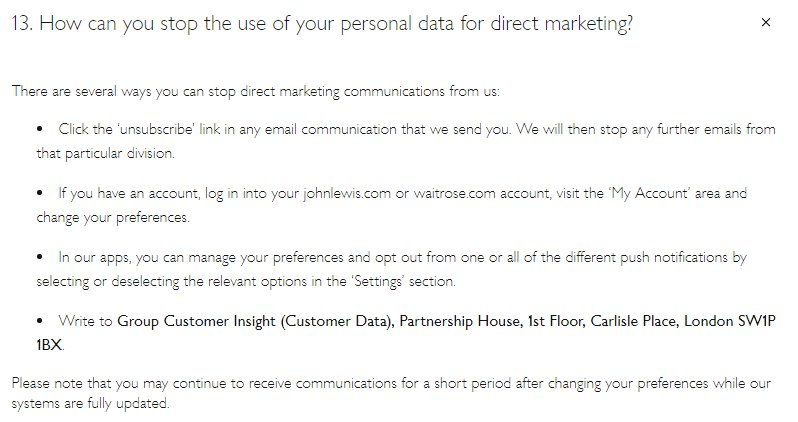 John Lewis Privacy Notice: Opt out of direct marketing clause with methods