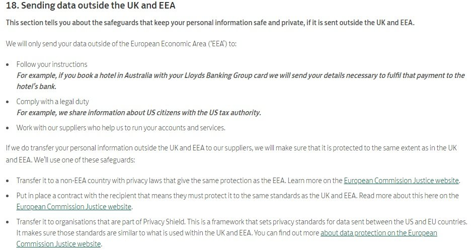 Lloyds Bank Privacy Policy: Sending data outside the UK and EEA clause