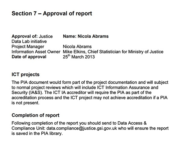 Ministry of Justice Privacy Impact Assessment Report: Approval section