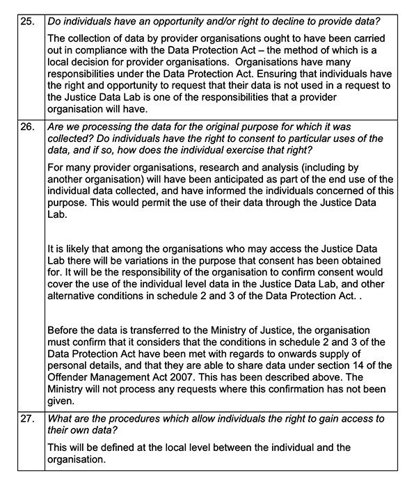 Ministry of Justice Privacy Impact Assessment Report: Clauses 25, 26 and 27
