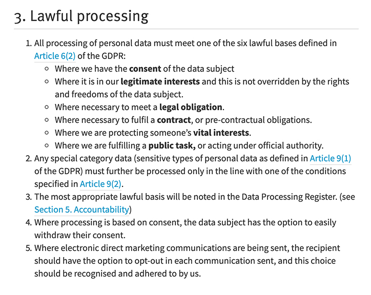 NICVA Data Protection Policy: Lawful processing clause