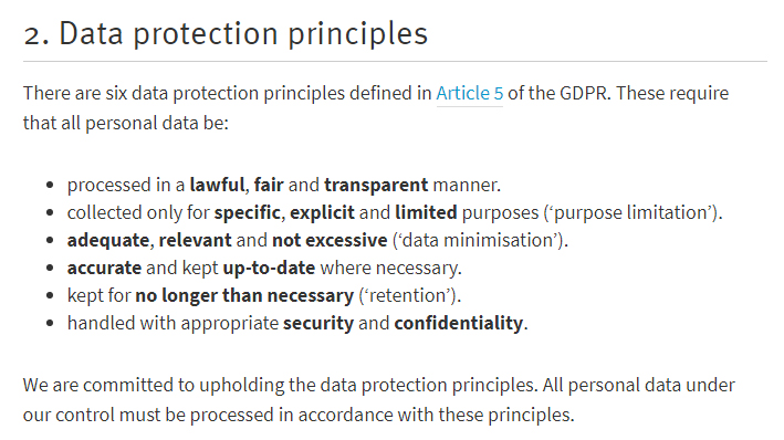 NICVA Data Protection Policy: Data Protection Principles clause