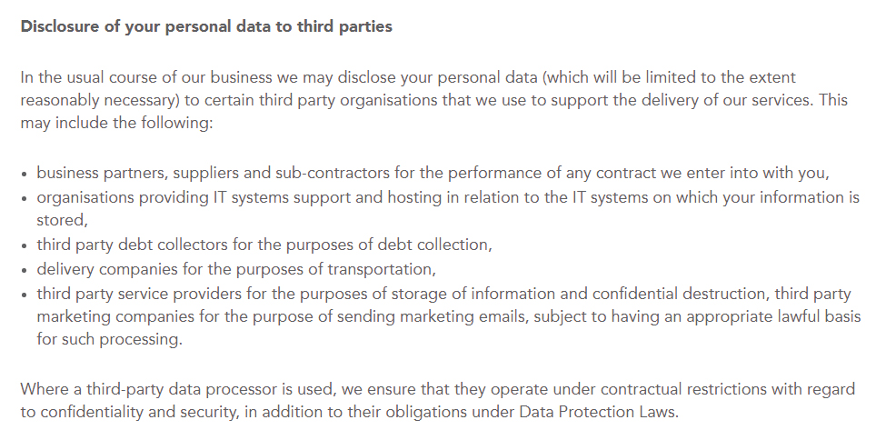 Nuffield Health Privacy Policy: Disclosure of your personal data to third parties clause excerpt