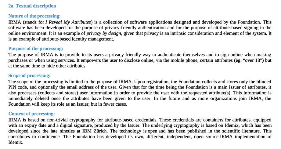 PBD Foundation DPIA: Textual description clause