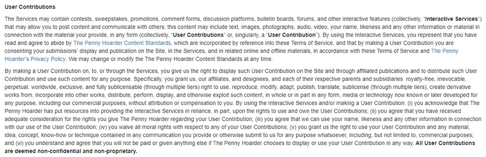 The Penny Hoarder Terms of Use: Excerpt of User Contributions clause