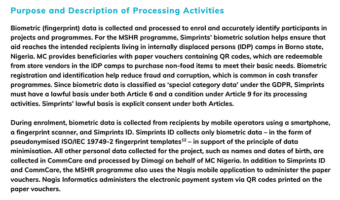 Simprints Technology DPIA: Purpose and Description of Processing Activities section