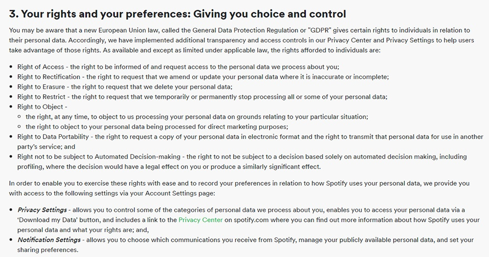 Spotify Privacy Policy: Your rights and your preferences: Giving you choice and control clause
