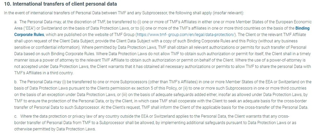 TMF Group Personal Data Protection Policy: International transfers of client personal data clause