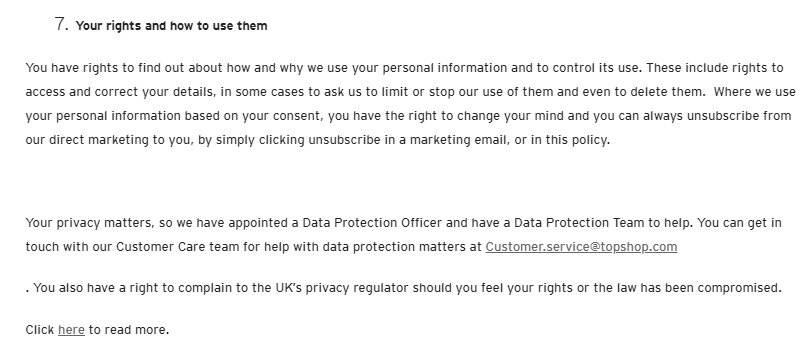 Topshop Privacy Policy: User rights and how to use them clause