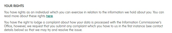 Translink Privacy Policy: GDPR User Rights clause