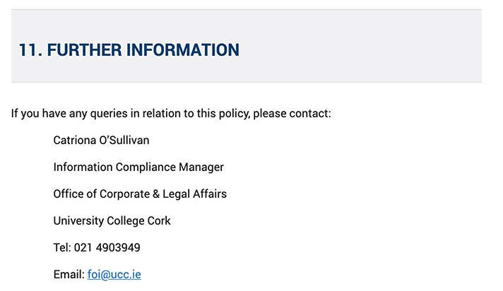 University College Cork Ireland Data Protection Policy: Further Information contact clause