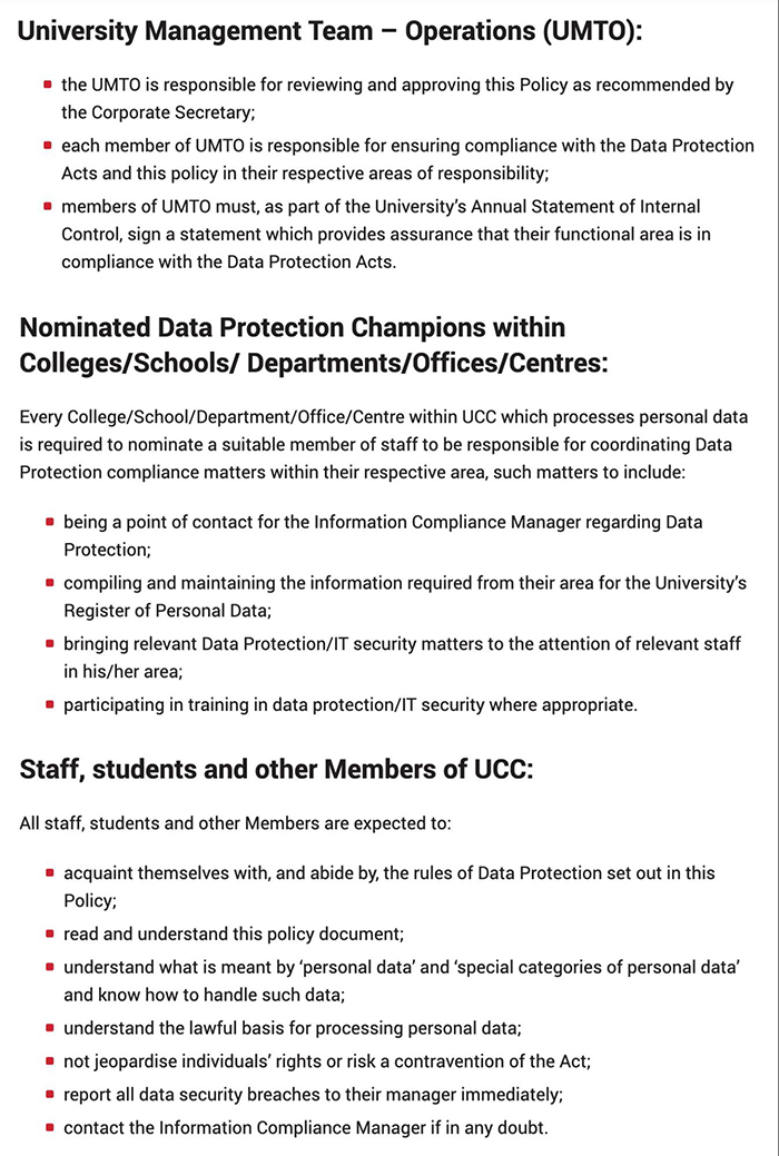 University College Cork Ireland Data Protection Policy: Expectations excerpt of Roles and responsibilities clause