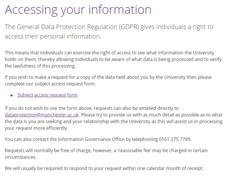 University of Manchester: Accessing Your Information section with link to subject access request form