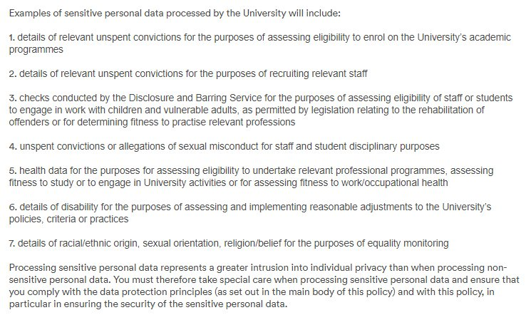 University of Nottingham Data Protection Policy: Examples of sensitive personal data clause