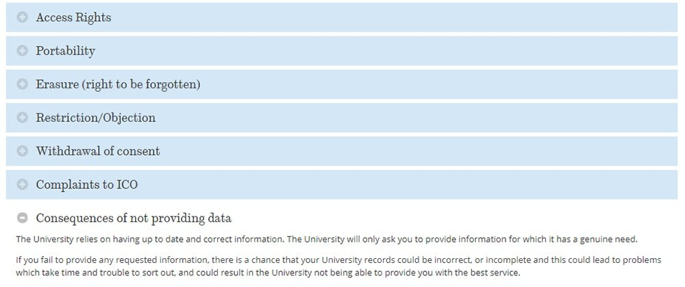 University of Sheffield Privacy Notice: Menu showing GDPR user rights and consequences of not providing data excerpt