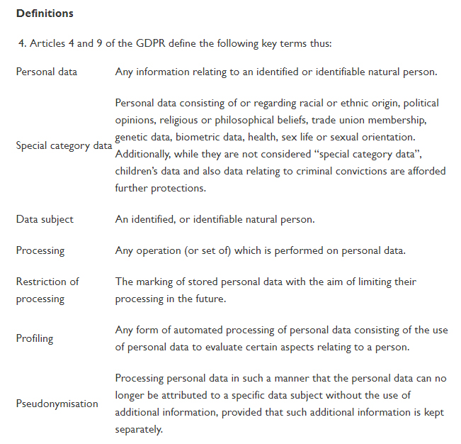 VSC GDPR Policy: Excerpt of Definitions section