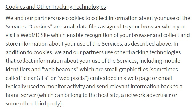 WebMD Privacy Policy: Cookies and Other Tracking Technologies clause excerpt