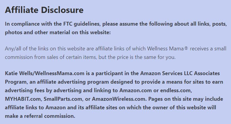 Wellness Mama blog: Affiliate Disclosure dedicated page excerpt