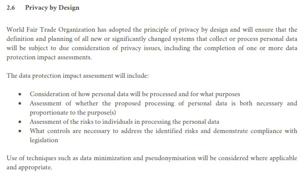 WFTO Privacy and Personal Data Protection Policy: Privacy by Design clause