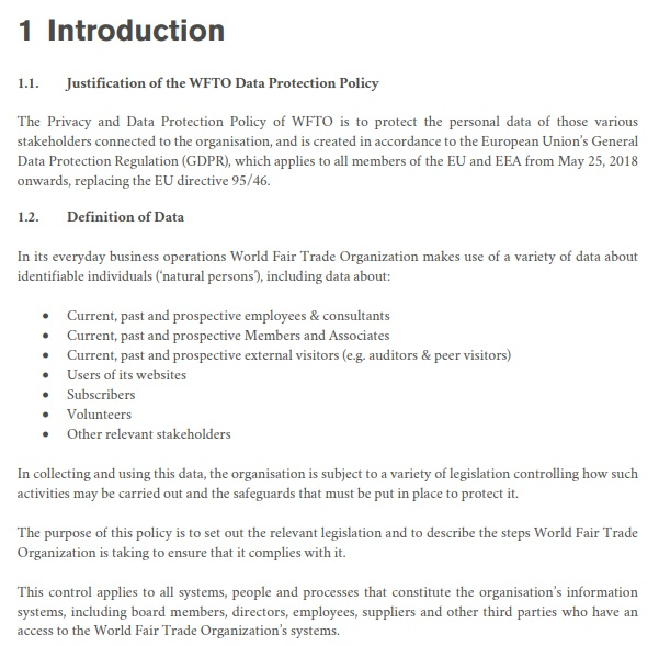 WFTO Privacy and Personal Data Protection Policy: Introduction clause excerpt