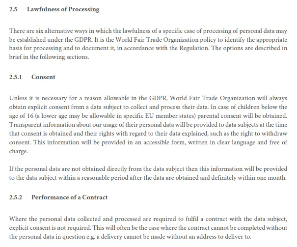 WFTO Privacy and Personal Data Protection Policy: Lawfulness of Processing clause excerpt
