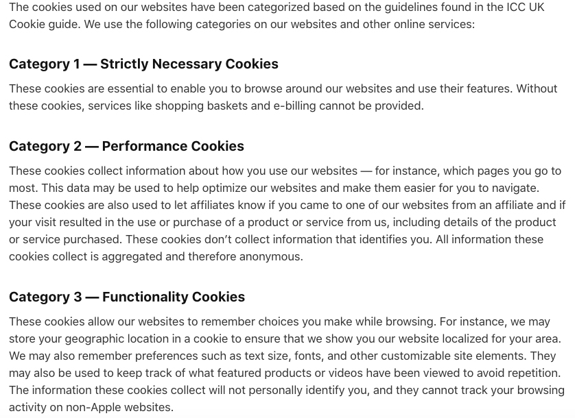 Apple Privacy: Use of Cookies - Categories