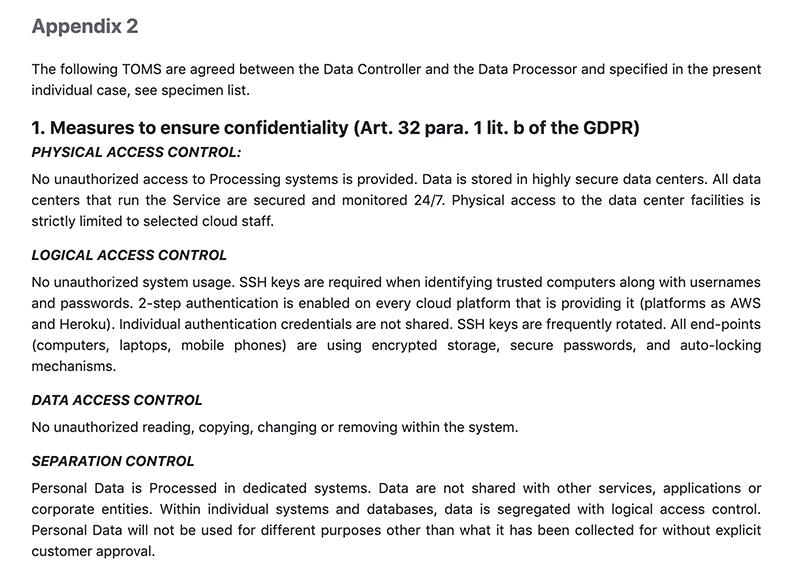 CloudMQTT DPA: Excerpt of Appendix 2