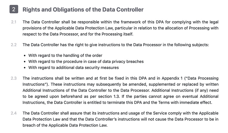 CloudMQTT DPA: Excerpt of Rights and Obligations of the Data Controller section